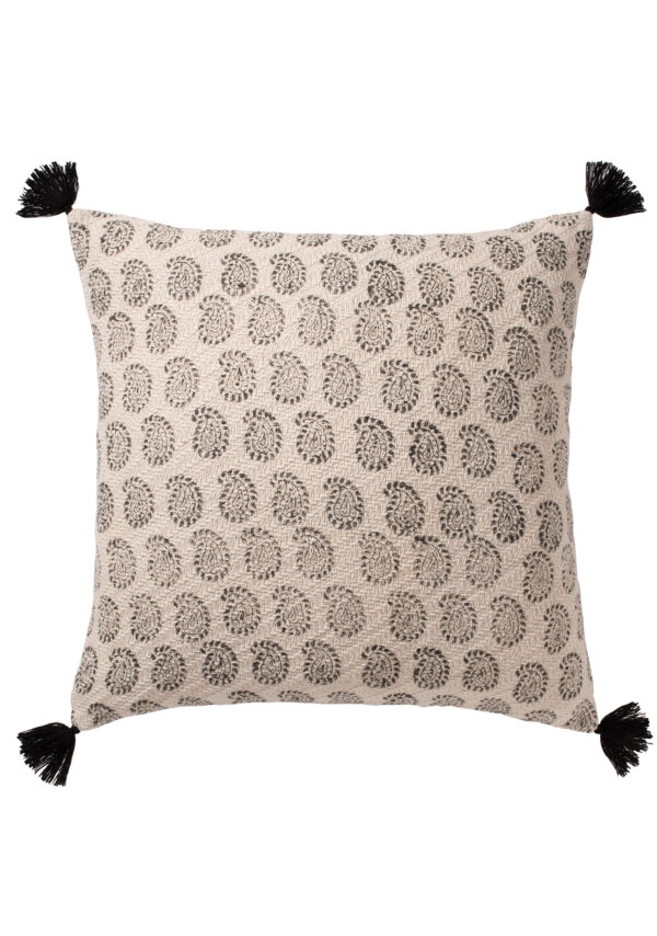 Black paisley block print fair trade cushion cover, Wildwood Cornwall, Bude