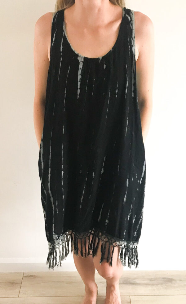 Black tie-dye dress, boho style Wildwood Cornwall, Bude