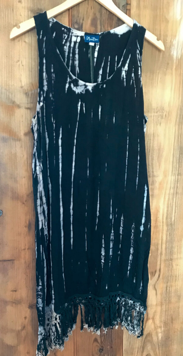 Bohemian style tiedye dress black, Wildwood Cornwall, Bude