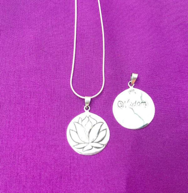 Lotus flower pendant and reverse side, Wildwood Cornwall
