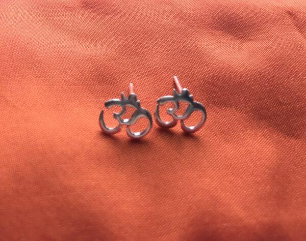 Silver om stud earrings, Wildwood Cornwal Bude