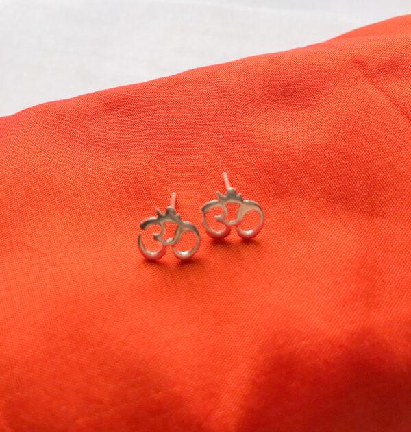 Sterling silver om stud earrings, Wildwood Cornwall